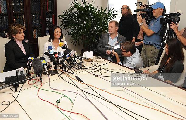 Charlotte Lewis an actress from London and her lawyer Glorida Allred speak at a press conference at Allred's offices in Los Angeles May 14 2010 Lewis...