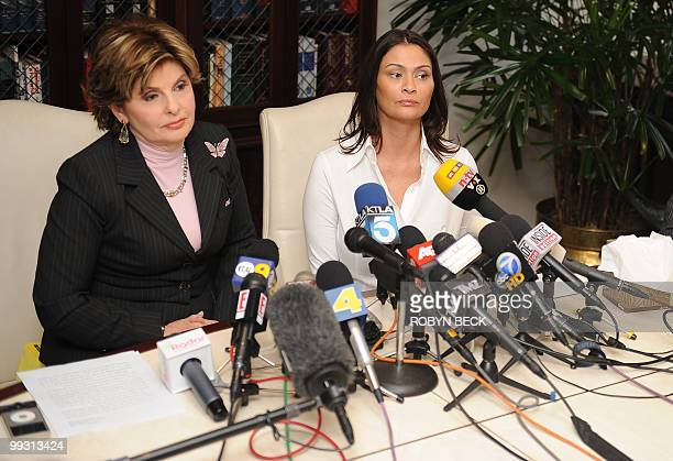 Charlotte Lewis an actress from London and her lawyer Gloria Allred hold a press conference at Allred's offices in Los Angeles May 14 2010 Lewis who...