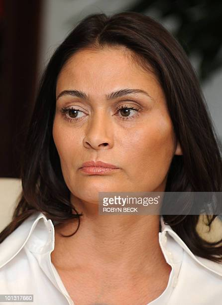 Charlotte Lewis an actress from London gives a press conference at the offices of her lawyer Gloria Allred in Los Angeles May 14 2010 Lewis who...