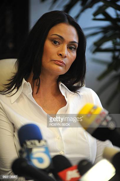 Charlotte Lewis an actress from London holds a press conference at her lawyer's offices in Los Angeles May 14 2010 Lewis who appeared in Roman...