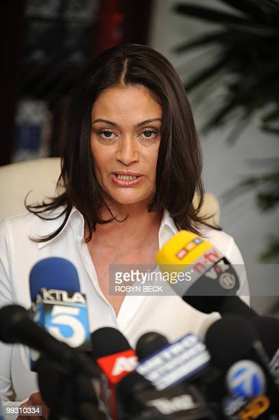 Charlotte Lewis an actress from London speaks at a press conference at Allred's offices in Los Angeles May 14 2010 Lewis who appeared in Roman...