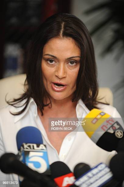 Charlotte Lewis an actress from London speaks at a press conference at her lawyer's offices in Los Angeles May 14 2010 Lewis who appeared in Roman...