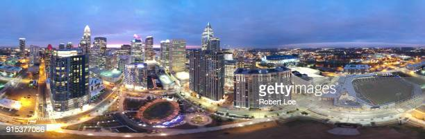 charlotte lights pano - charlotte north carolina stock photos and pictures