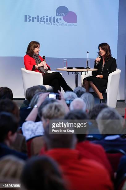 Charlotte Link and Brigitte Hubert attend the BRIGITTE LIVE at Frankfurt Book Fair 2015 on October 18 2015 in Frankfurt am Main Germany
