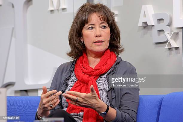 Charlotte Link attends the blue sofa at the 2014 Frankfurt Book Fair on October 9 2014 in Frankfurt Germany The 2014 fair which is among the world's...