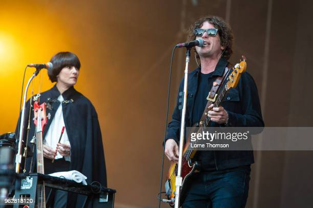 Charlotte Marionneau and Russell Pritchard of Noel Gallagher's High Flying Birds perform at BBC Radio The Biggest Weekend at Scone Palace on May 26...