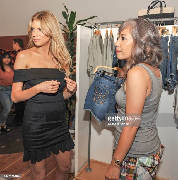 Charlotte McKinney and Claire Powers attend Kindom Summer Soiree at Alchemy Works on July 19 2018 in Los Angeles California