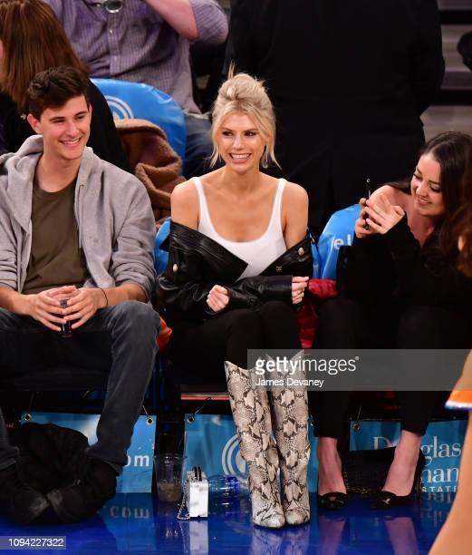 Charlotte McKinney attends Detroit Pistons v New York Knicks game at Madison Square Garden on February 5 2019 in New York City