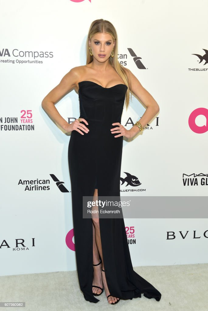 Charlotte McKinney attends the 26th annual Elton John AIDS Foundation's Academy Awards Viewing Party at The City of West Hollywood Park on March 4, 2018 in West Hollywood, California.