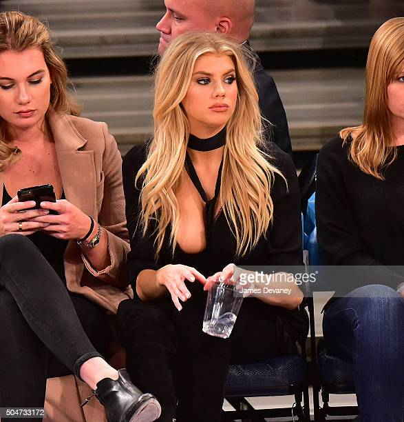 Charlotte McKinney attends the Boston Celtics vs New York Knicks game at Madison Square Garden on January 12 2016 in New York City