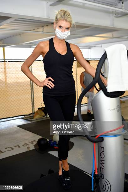 Charlotte McKinney is seen during the International Day of the Girl fundraiser class with special guest Charlotte McKinney, hosted by PLATEFIT x Girl...