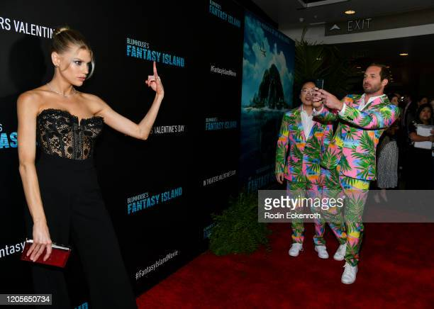 """Charlotte McKinney, Jimmy O. Yang, and Ryan Hansen attend the premiere of Columbia Pictures' """"Blumhouse's Fantasy Island"""" at AMC Century City 15 on..."""
