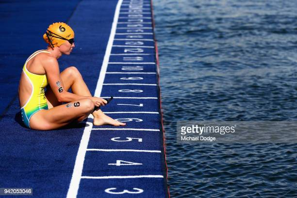 Charlotte McShane of Australia looks on prior to the Women's Triathlon on day one of the Gold Coast 2018 Commonwealth Games at Southport Broadwater...