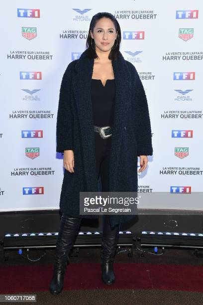 "Charlotte Namura attends ""The Truth About The Harry Quebert Affair"" Premiere at Cinema Gaumont Marignan on November 12, 2018 in Paris, France."