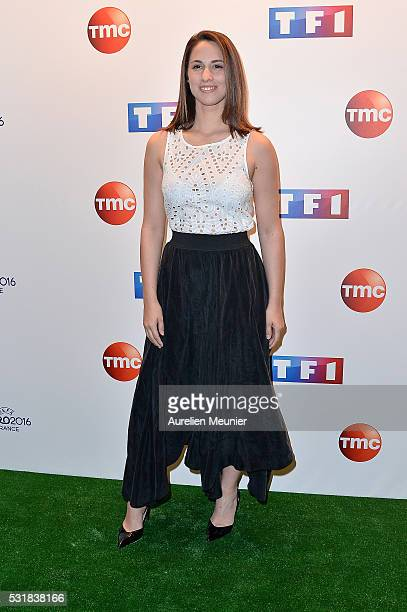 Charlotte Namura attends the UEFA press conference photocall at TF1 on May 17 2016 in Paris