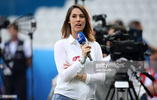 Charlotte Namura comments for TF1 the last practice session of Team France on the eve of opening match of UEFA EURO 2016 at Stade de France on June 9...