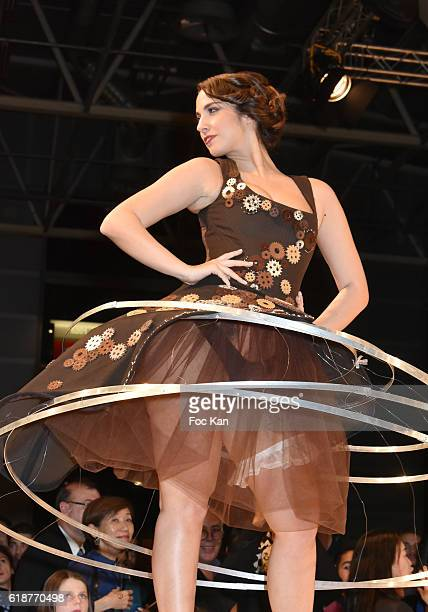 Charlotte Namura dressed by AnneLise DuriezGrandjean and chocolated by Vianney Bellanger walks the runway during the Chocolate fashion show as a part...