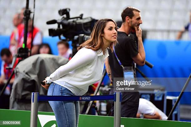 Charlotte Namura tv presenter for TF1 football show Telefoot during the France training session before the first game European Championship against...