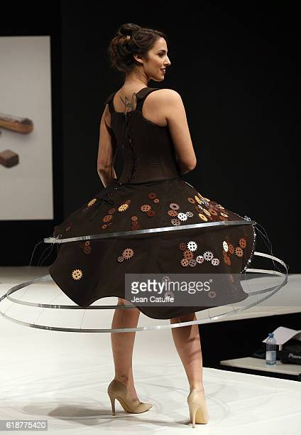 Charlotte Namura walks the runway during the Chocolate Fashion Show as part of Salon du Chocolat Paris 2016 at Parc des Expositions Porte de...