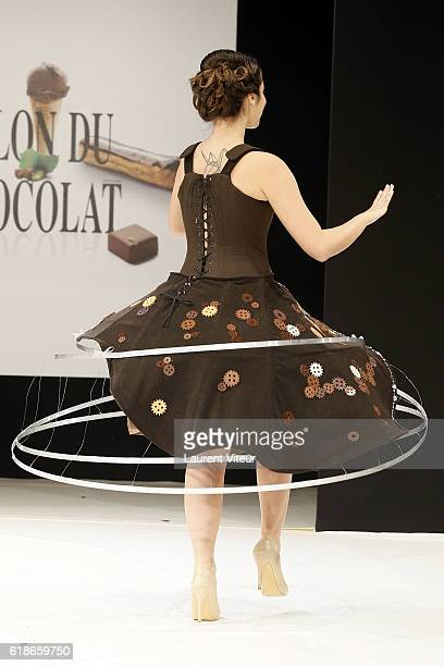 Charlotte Namura walks the runway during the Dress Chocolate Show as part of Salon du Chocolat at Parc des Expositions Porte de Versailles on October...