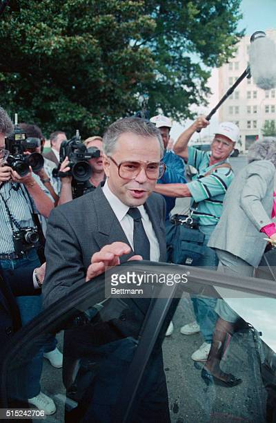 Jim Bakker comments to newsmen as he leaves Federal Court in Charlotte Bakker stated that he was looking toward the weekend as he entered a waiting...