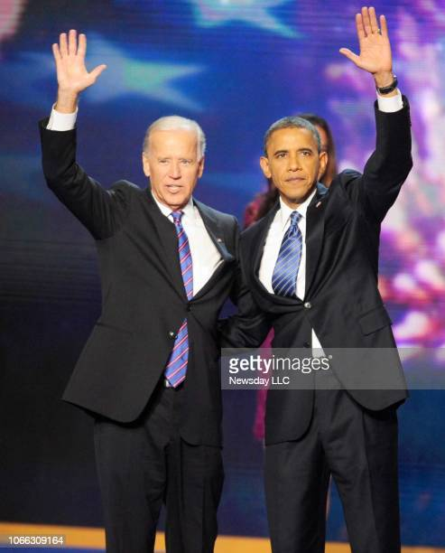 President Barack Obama and Vice President Joe Biden wave as they take the stage during the 2012 Democratic National Convention at the Time Warner...