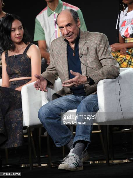 Charlotte Nicdao and F Murray Abraham of Mythic Quest Raven's Banquet speak on stage during the Apple TV segment of the 2020 Winter TCA Tour at The...