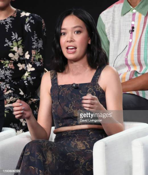 Charlotte Nicdao of Mythic Quest Raven's Banquet speaks on stage during the Apple TV segment of the 2020 Winter TCA Tour at The Langham Huntington...