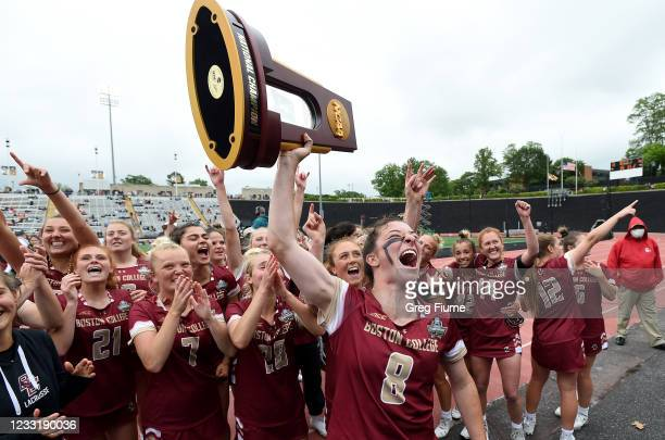 Charlotte North and the Boston College Eagles celebrate after winning the Division I Women's Lacrosse Championship 16-10 against the Syracuse Orange...