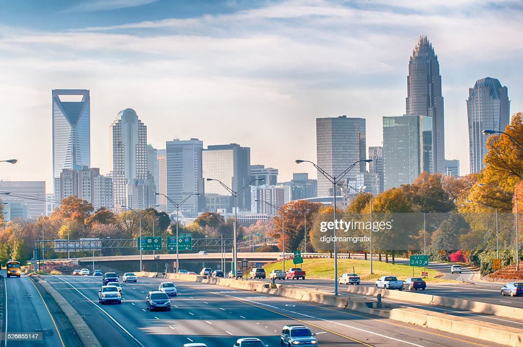 charlotte north carolina skyline during autumn season at sunset : Stock Photo