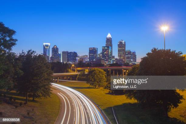 charlotte, north carolina skyline - charlotte north carolina stock photos and pictures