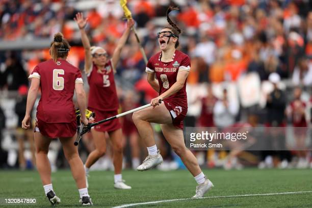 Charlotte North of the Boston College Eagles celebrates a goal against the Syracuse Orange in the second half during the 2021 NCAA Division I Women's...
