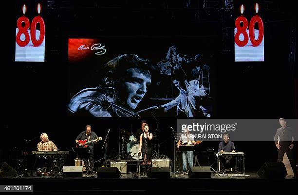 Charlotte Orlove performs with the 'Elvis Presley Birthday Bash Band' as they celebrate what would have been the King of Rocks 80th birthday at the...