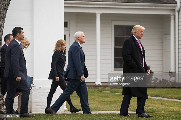 Charlotte Pence Vice Presidentelect Mike Pence and Presidentelect Donald Trump leave Lamington Presbyterian Church after attending service November...