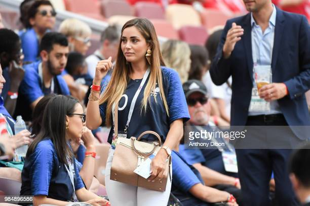 Charlotte Pirroni girlfriend of Florian Thauvin during the FIFA World Cup Group C match between Denmark and France at Luzhniki Stadium on June 26...