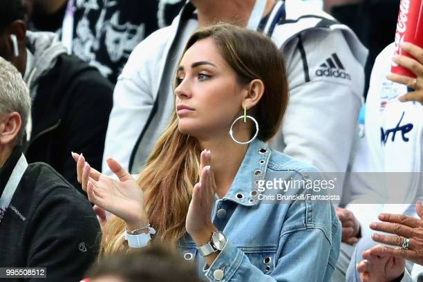 Charlotte Pirroni girlfriend of Florian Thauvin of France attends the 2018 FIFA World Cup Russia Semi Final match between Belgium and France at Saint...