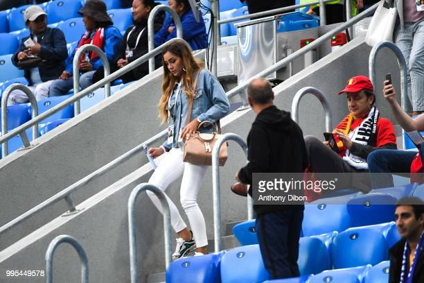 Charlotte Pirroni girlfriend of Florian Thauvin of France during the Semi Final FIFA World Cup match between France and Belgium at Krestovsky Stadium...