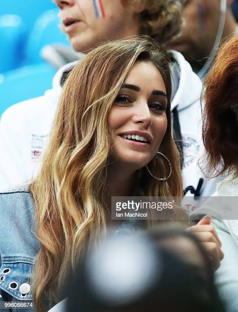 Charlotte Pirroni girlfriend of Florian Thauvin of France is seen during the 2018 FIFA World Cup Russia Semi Final match between Belgium and France...