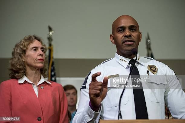 Charlotte police chief Kerr Putney addresses a press conference with mayor Jennifer Roberts in Charlotte North Carolina on September 23 2016...