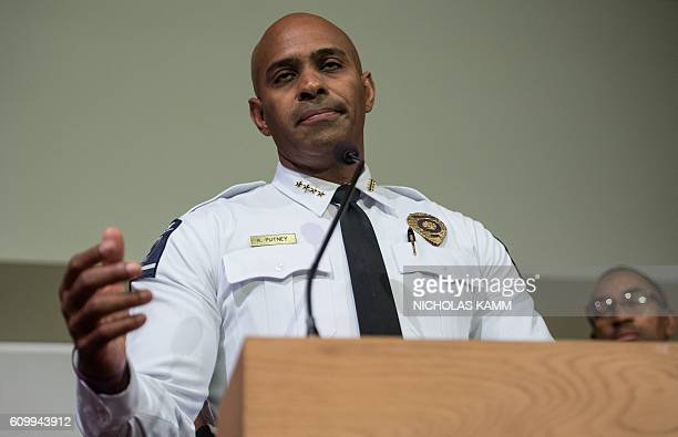 Charlotte police chief Kerr Putney speaks at a press conference in Charlotte North Carolina on September 23 2016 following the shooting of Keith...