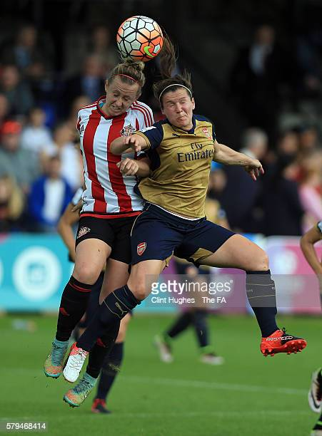Charlotte Potts of Sunderland AFC Ladies and Emma Mitchell of Arsenal Ladies contest a header during the FA WSL 1 match between Sunderland AFC Ladies...