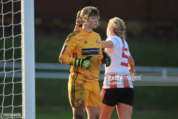 Charlotte Potts of Sunderland Ladies congratulates Claudia Moan after a save during the SSE Women's FA Cup Fifth Round match between Sunderland...