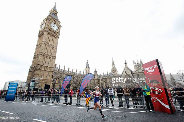 Charlotte Purdue of Great Britain passes Big Ben during the Virgin Money London Marathon on April 24 2016 in London England