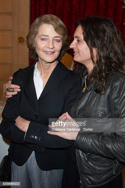Charlotte Rampling and Emilie Jarre attend the Ceremony at Elysee Palace in Paris