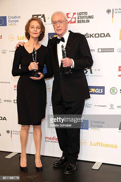 Charlotte Rampling and Sir Michael Caine with award during the European Film Awards 2015 at Haus Der Berliner Festspiele on December 12, 2015 in...