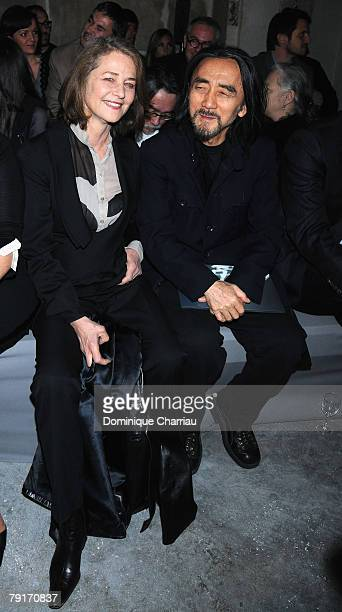 Charlotte Rampling and Yohji Yamamoto attend Givenchy Fashion show, during Paris Fashion Week Spring-Summer 2008 at Couvent des Cordelliers on...