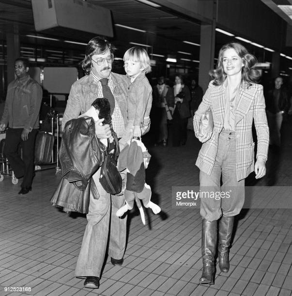 Charlotte Rampling at Heathrow Airport with her son Barnaby and husband Bryan Southcombe 6th March 1976