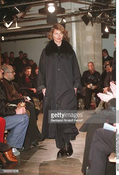 Charlotte Rampling at theYohji Yamamoto Menswear Catwalk Autumn Winter 98/99 Collection.