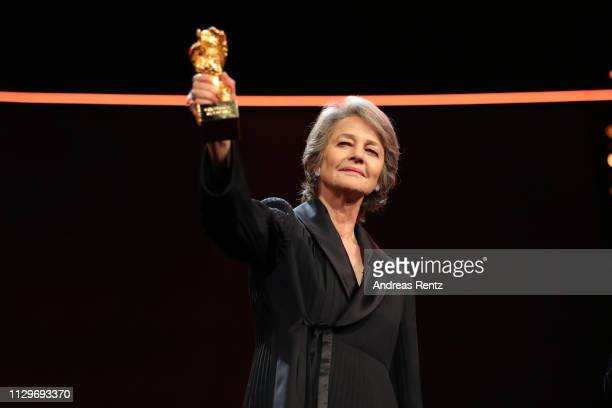 Charlotte Rampling is seen o stage at the Homage Charlotte Rampling Honorary Golden Bear award ceremony during the 69th Berlinale International Film...