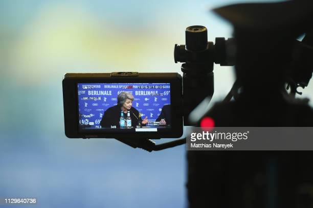 Charlotte Rampling is seen on a camera screen at the Hommage Charlotte Rampling press conference during the 69th Berlinale International Film...
